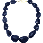 SALE Natural 600 CT  Iolite Faceted Nugget Handmade Sterling Silver Necklace