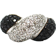SALE Natural Black and White Diamond Cocktail Statement Band Ring in 14KT White Gold