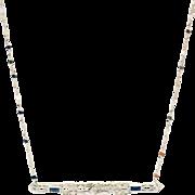 SALE Handmade Custom-made Antique Bar Diamond and Sapphire Pendant Chain Necklace 18KT White .