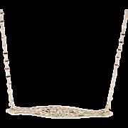 SALE Handmade Custom-made Antique Bar Diamond Pendant Chain Necklace 14KT White Gold