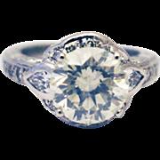 SALE 4.1 CT Elegant Antique Art Deco Natural European Cut Diamond Platinum Ring