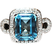 SALE 8 CT Natural Swiss Blue Topaz and Diamond Ring in 14KT White Gold