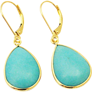 SALE 18CT Natural Sleeping Beauty Turquoise Earrings Hand Bezel Set in 18KT Gold