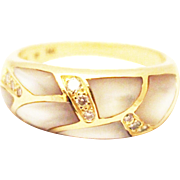 SALE Most Beautiful Natural Mother of Pearl and Diamond Ring 14KT Yellow Gold Ring