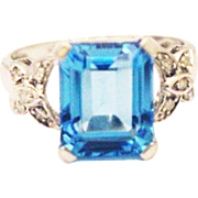 SALE 6 CT Natural Swiss Blue Topaz and Diamond Ring in 10KT White Gold