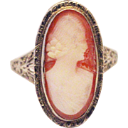 SALE Priceless Hand-carved Natural Shell Cameo Ring 14KT White Gold