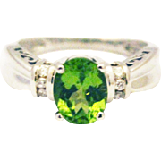 SALE Natural Peridot and Diamond Ring in 14KT White Gold
