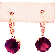 SALE 16CT Natural Rubellite Pink Tourmaline and Diamond Earrings 14KT Gold