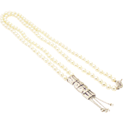 SALE Amazing Opera Length Cultured White Freshwater Pearl Sterling Silver Necklace