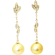 SALE Cultured Golden South Sea Pearls and Diamonds Earrings 14KT Gold