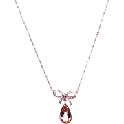 SALE Custom-made Diamond and Morganite Pendant Chain Necklace 14KT White Gold