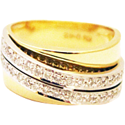 SALE Bold Elegant Modern Natural Diamond Cocktail Band Ring in 18KT Yellow & White Gold