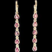 SALE 13CT Natural Rubellite Pink Tourmaline Shoulder Duster Earrings 18KT Gold