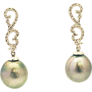 SALE Cultured Tahitian Pearls and Diamonds Earrings 14KT White Gold