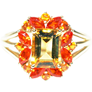 SALE Natural Citrine and Fire Opal Ring in 14KT Gold