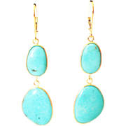 SALE 22CT Natural Sleeping Beauty Turquoise Earrings Hand Bezel Set in 18KT Gold