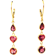 SALE 6.5CT Natural Rubellite Pink Tourmaline Earrings 18KT Gold