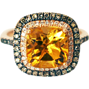 SALE Natural Madeira Citrine, Chocolate and White Diamond Ring in 14KT Rose Gold