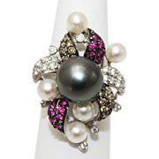 SALE 12mm Most Gorgeous Cultured Tahitian Pearl White & Chocolate Diamond, Ruby Ring 18KT Whit