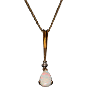 SALE 1 CT Australian Opal Diamond Pendant Necklace 14KT Yellow Gold