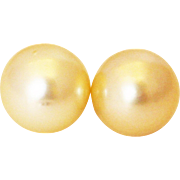 SALE 12.5mm Cultured Golden South Sea Pearl Earrings 14KT Yellow Gold