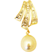 SALE 13mm Natural Golden South Sea Pearl 3CT Diamond Pendant 14KT Gold