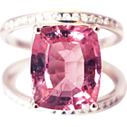 SALE One of a Kind Custom Natural Pink Tourmaline and Diamond Ring in 14KT White ...