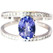 SALE One of a Kind Custom Natural Tanzanite and Diamond Ring in 14KT White Gold