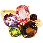 SALE Pink Tourmaline, Peridot, Amethyst, Garnet and Whisky Quartz Ring in 14KT Yellow Gold