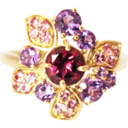 SALE Pink Tourmaline, Rubellite and Amethyst Ring in 14KT Yellow Gold