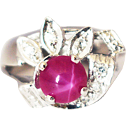 SALE Amazing Natural Star Ruby and Diamond Ring in 14KT White Gold