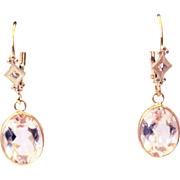 SALE 5CT Natural Pink Morganite Earrings Hand Bezel Set in 14KT Gold