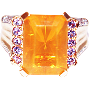 SALE 8 CT Natural Mexican Fire Opal and Diamond Ring in 14KT Yellow Gold