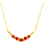 SALE 2 CT Natural Ruby and Diamond Necklace 14KT Yellow Gold