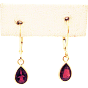 SALE 2CT Natural Rubellite Pink Tourmaline Earrings 14KT Gold
