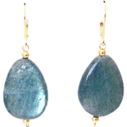 SALE 50CT Natural Labradorite Earrings Set in 14KT Gold