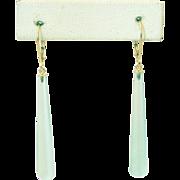 SALE 20CT Natural Sea foam Green Chalcedony Earrings Set in 14KT Gold