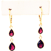 SALE 3.75CT Natural Rubellite Pink Tourmaline Earrings 18KT Gold