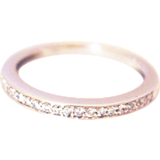 SALE Modern Diamond Wedding Band or Stackable Ring in 14KT White Gold