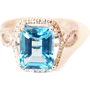 SALE 4 CT Natural Swiss Blue Topaz and Diamond Ring in 14KT White Gold