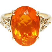 SALE 6 CT Natural Mexican Fire Opal and Diamond Ring in 14KT Yellow Gold