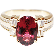 SALE Regal Natural Rubellite Raspberry Pink Tourmaline and Diamond Ring in 14KT Yellow Gold