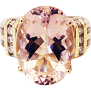 SALE 13 CT Natural Morganite & Diamonds Ring 14KT Yellow Gold