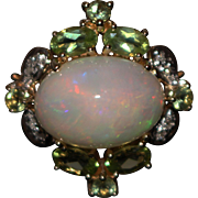 SALE 5.5CT Natural Ethiopian Opal, Peridot and Diamond Ring in 14KT