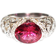 SALE Regal Natural Rubellite Raspberry Pink Tourmaline and Diamond Ring in 18KT White Gold