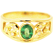 SALE Natural Colombian Emerald and Diamond 14KT Yellow Gold Ring