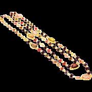 SALE Natural Watermelon Tourmaline Bezel Set Sterling Silver Necklace