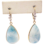 SALE 35CT Natural Larimar and Diamond Earrings Hand Bezel Set in 14KT Gold