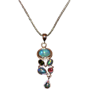 SALE Handmade Rubellite Pink Tourmaline and Rare Natural Ethiopian Opal Necklace in Sterling .