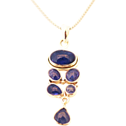 SALE Handmade Natural Tanzanite Necklace in Sterling Silver